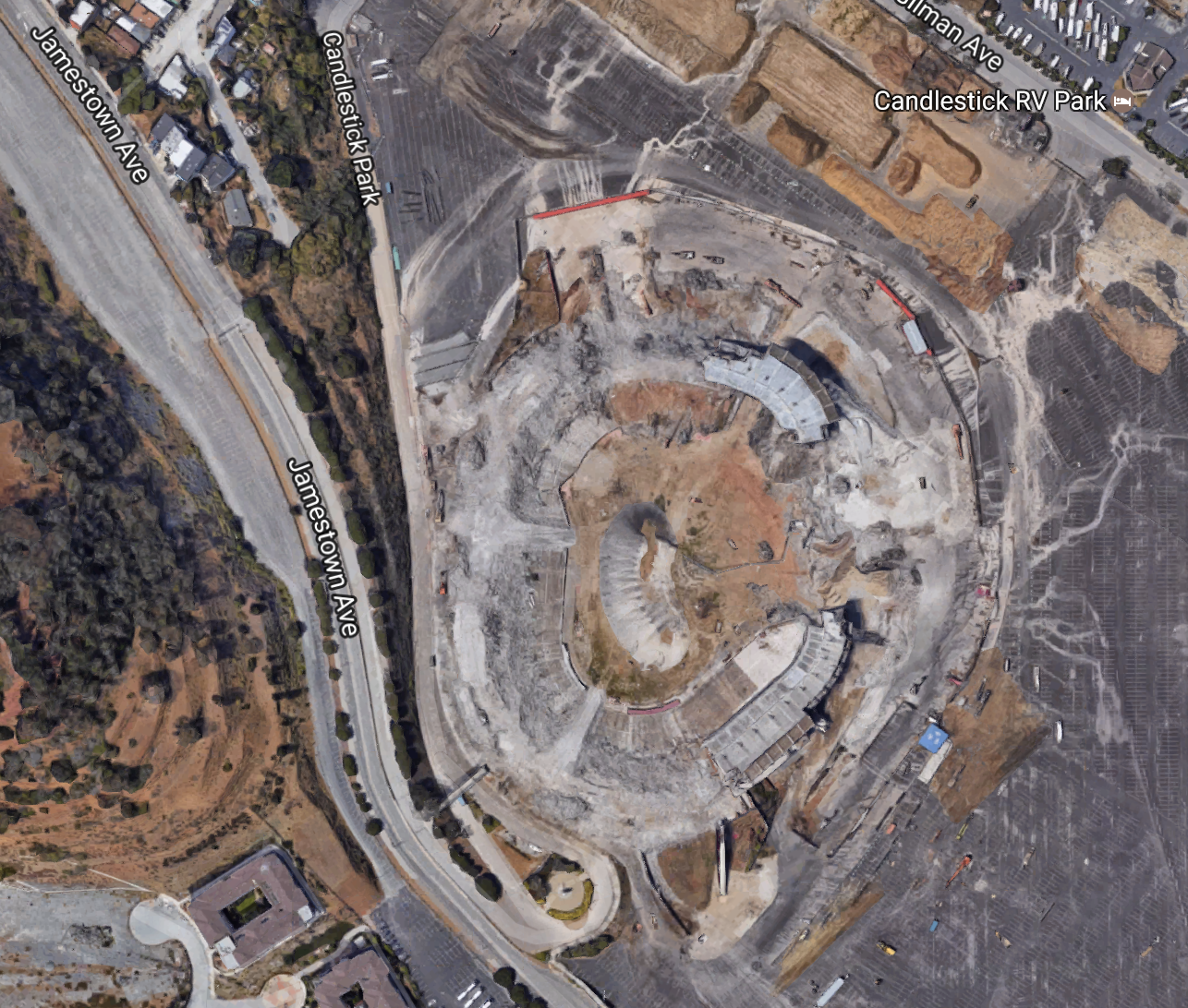 Candlestick Park today (Image Courtesy of Google Earth)
