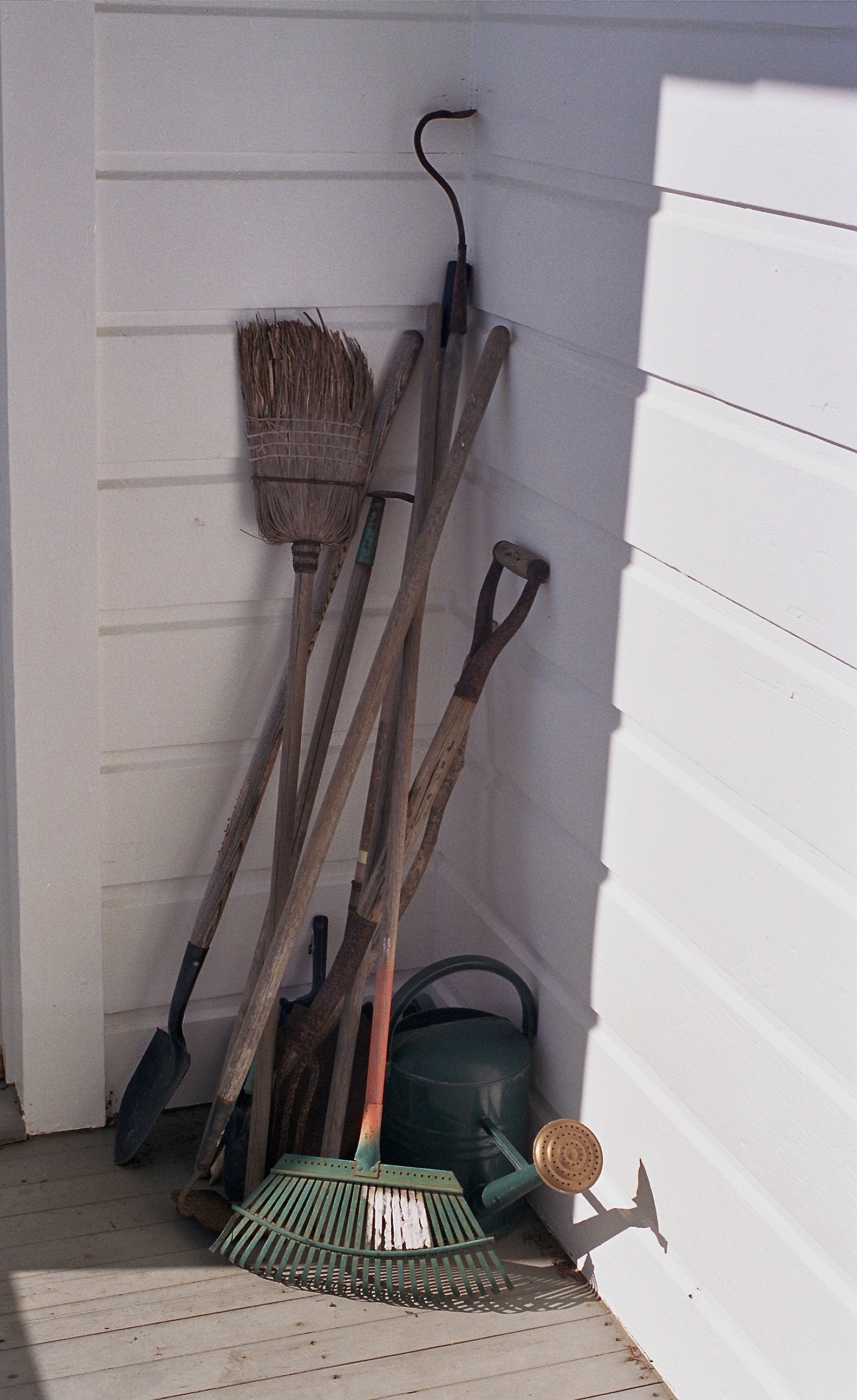 Tools on the sunny front porch