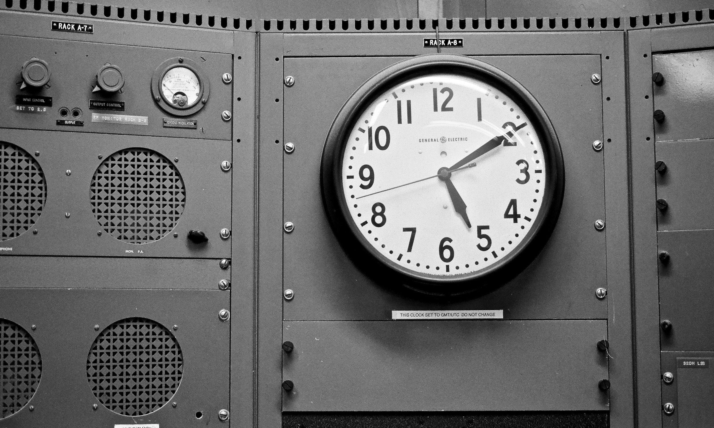 Clock in the master control room at coastal wireless station KPH in Bolinas, CA (Nikon FM2n on Kodak Tmax 400)