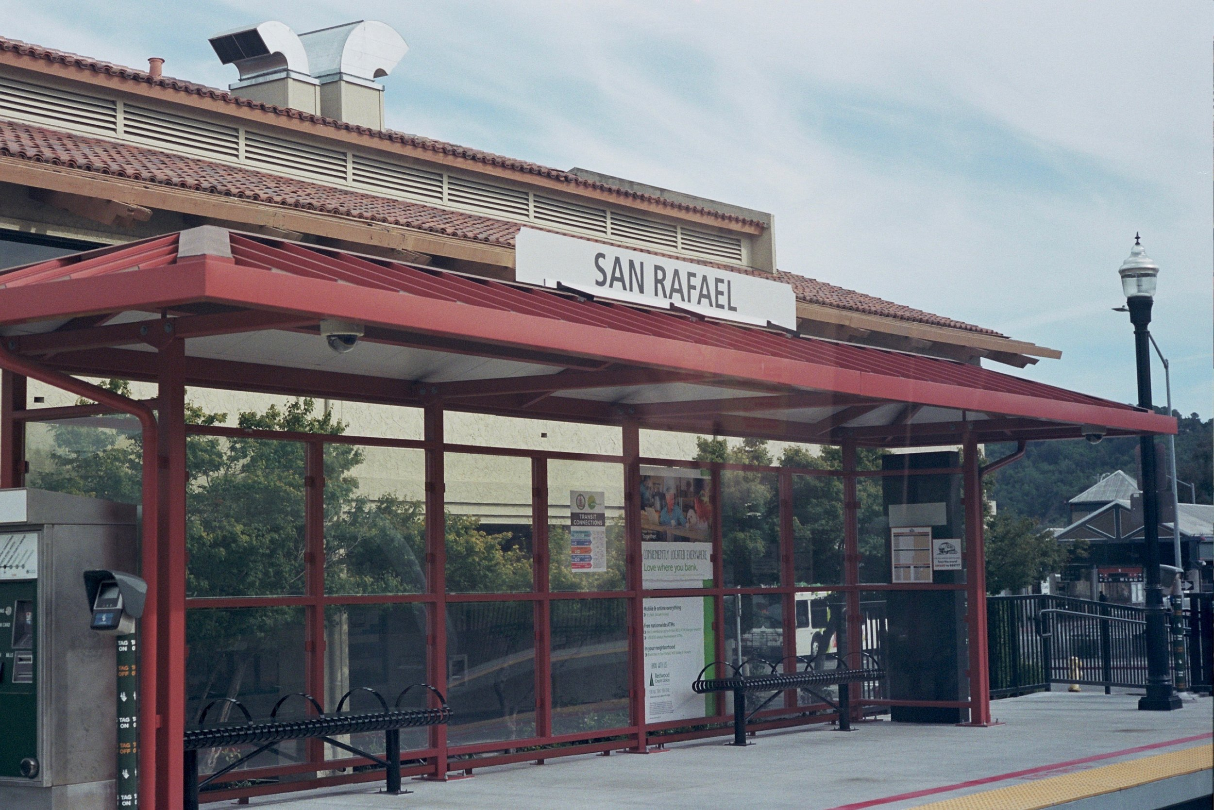 The station in San Rafael through the train window