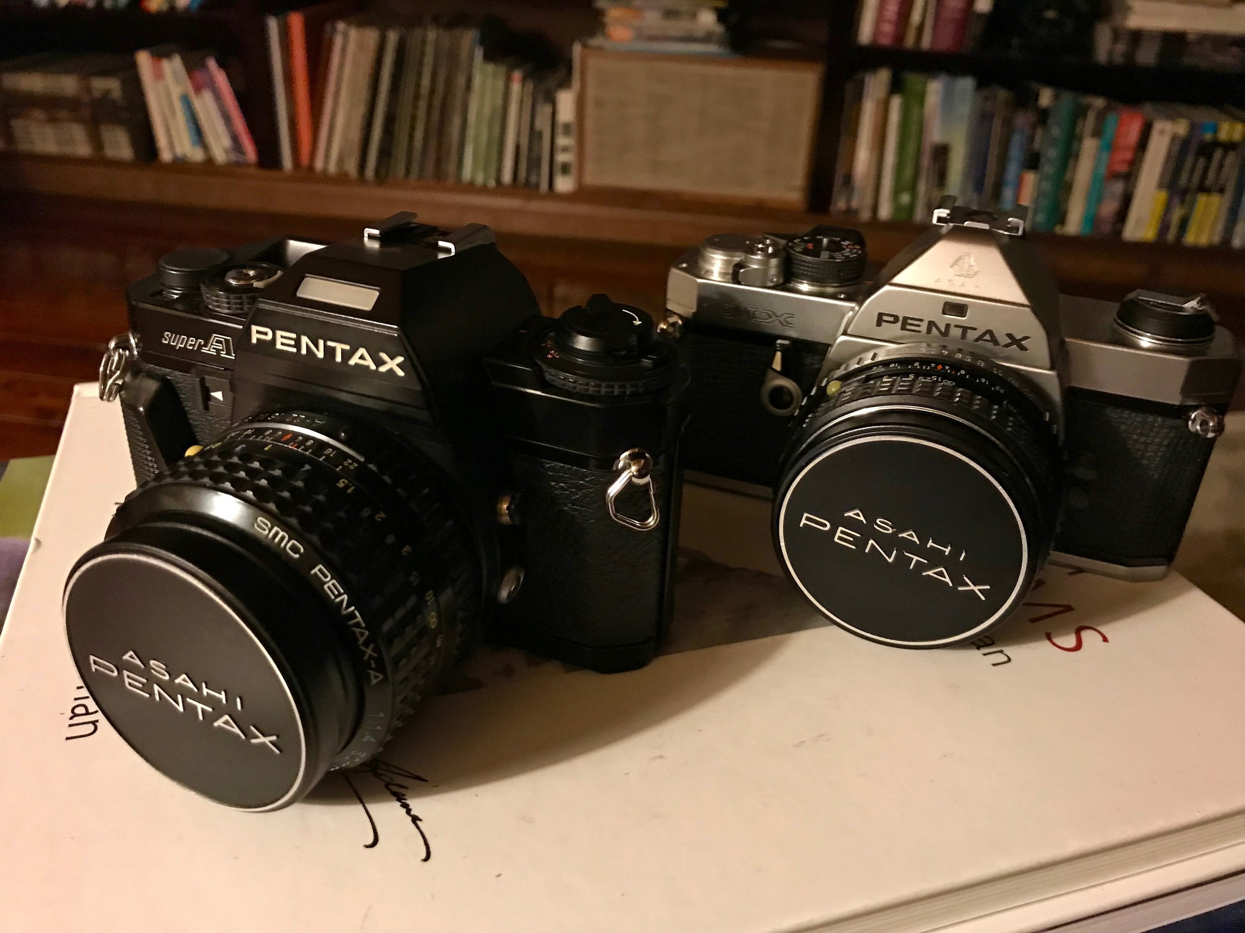 Pentax Super A (left) with SMC Pentax-A 50mm f/1.4 and Pentax MX (right) with SMC Pentax-M 50mm f/1.7