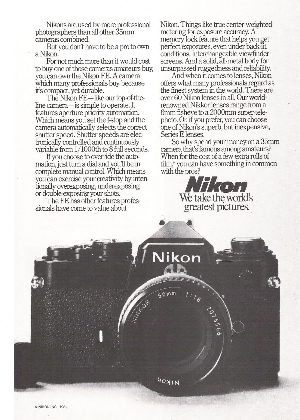 Magazine ad circa 1981