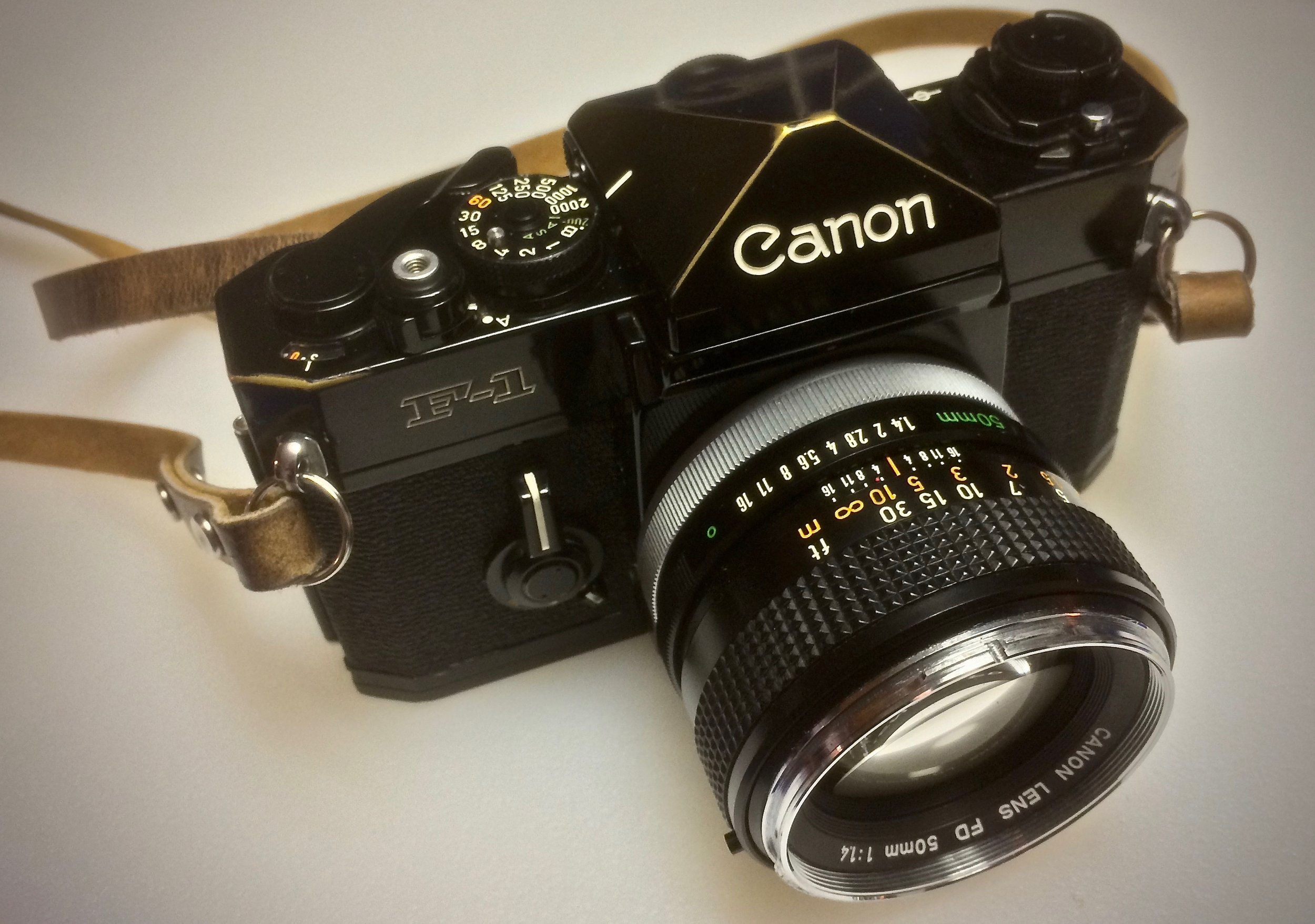 Canon F-1 - Besides having one of the sweetest sounding shutters of any 35mm SLR I've tried, the Canon F-1's analog meter display in the viewfinder is pretty cool. And those FD lenses!!