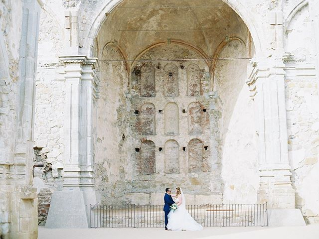 This picture just makes me want to go on a European vacation with my husband. It's so dreamy.  Photography @mallorydawnphoto Venue @franciscangardens Wedding Coordinator @stacyskwarloevents Hair @nico_warren Makeup @stella_aa Wedding Gown @bhldn Invitations & Calligraphy @pirouettepapercompany Florist @sweetsageevents Cake @itsallaboutcake Caterer @24carrotscatering Rentals @sweetsalvagerentals & @akjohnstongroup DJ @bowtiedjandevents Videography Theater 10 Ribbon @tonoandco Styling Surface @locustcollection Ring Box @lacebyrdofficial Film Lab @goodmanfilmlab