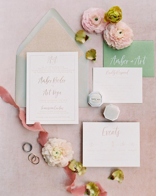 The most perfectly styled invitation suite by @pirouettepapercompany! Who doesn't love some fluffy ranunculus?! Photography @mallorydawnphoto Venue @franciscangardens Wedding Coordinator @stacyskwarloevents Hair @nico_warren Makeup @stella_aa Wedding Gown @bhldn Invitations & Calligraphy @pirouettepapercompany Florist @sweetsageevents Cake @itsallaboutcake Caterer @24carrotscatering Rentals @sweetsalvagerentals & @akjohnstongroup DJ @bowtiedjandevents Videography Theater 10 Ribbon @tonoandco Styling Surface @locustcollection Ring Box @lacebyrdofficial Film Lab @goodmanfilmlab