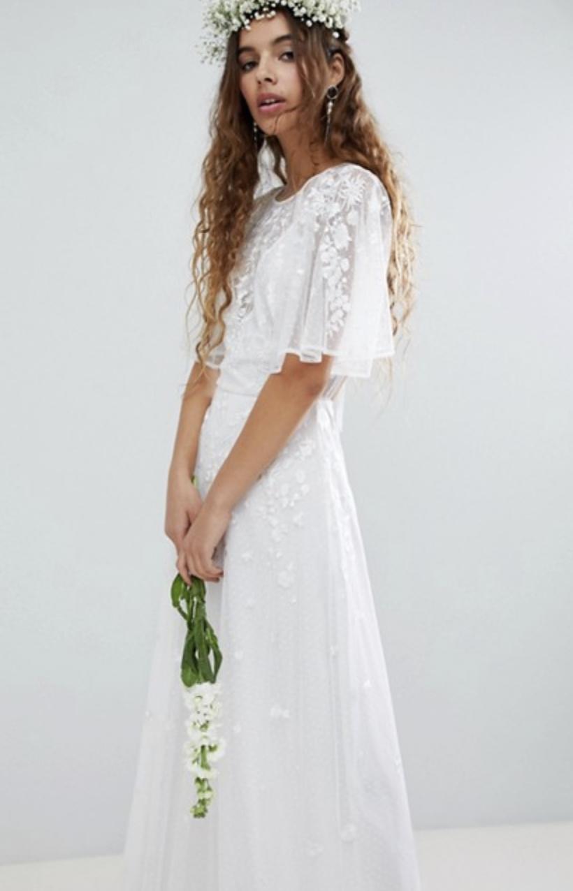 Embroidered Flutter Sleeve Maxi Dress - $151