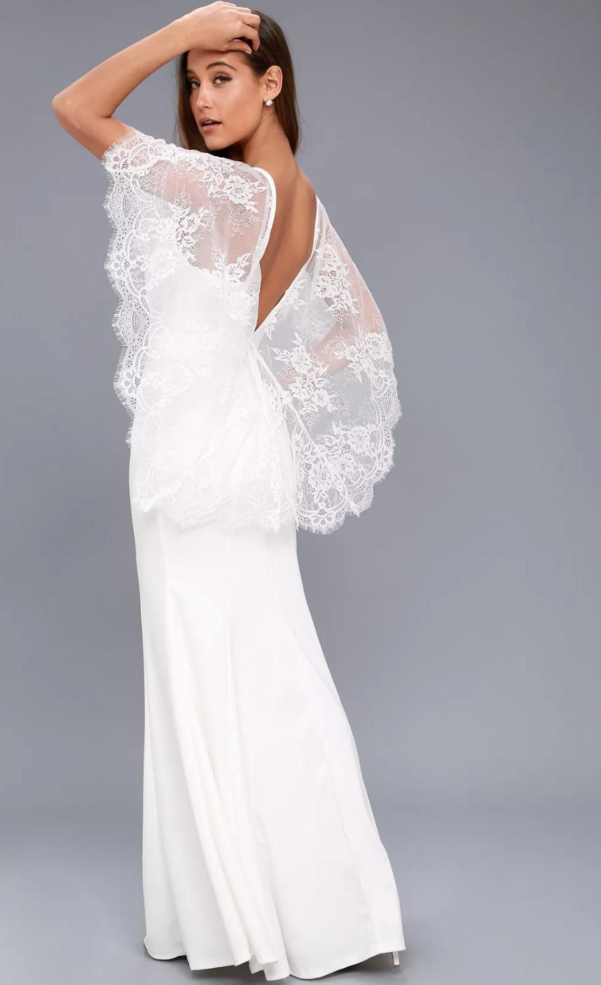 Amelie White Lace Maxi Dress - $98