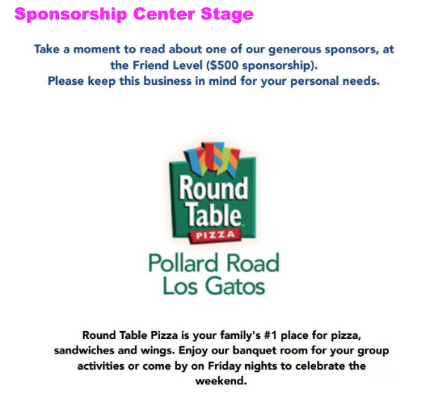 Where Is Round Table Pizza.Center Stage Sponsor Round Table Pizza Marshall Lane Pta