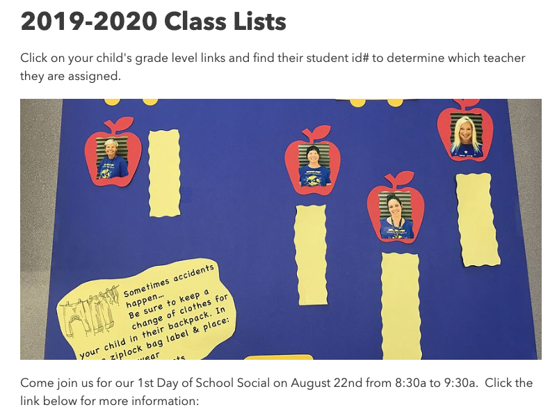 Please click here for 2019-2020 class list.