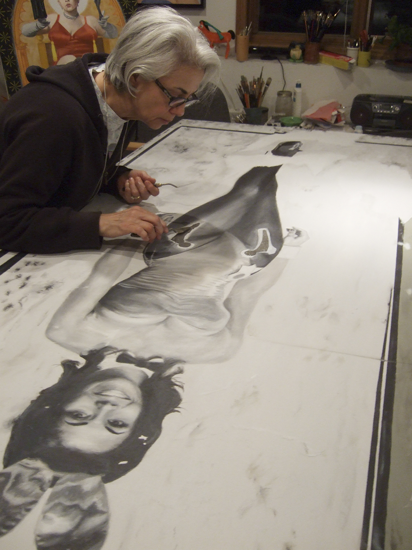 Bunny Portia in her studio applying titanium sponge to  Momento Mori IV (Becoming Mortal).  March 2015