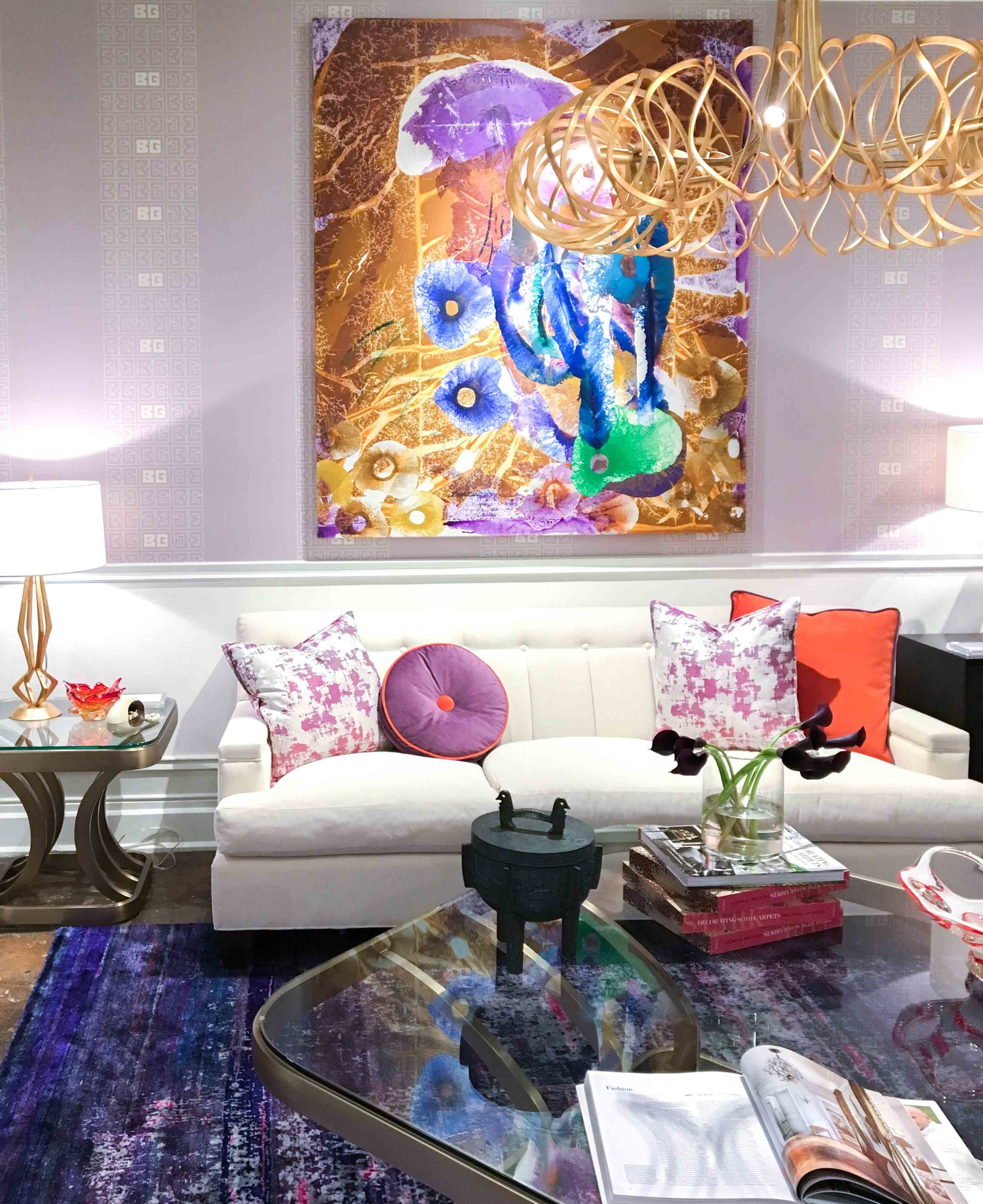 Barry Garlick for Vangaard's show room was so fun. Just love the retro feel and use of color.