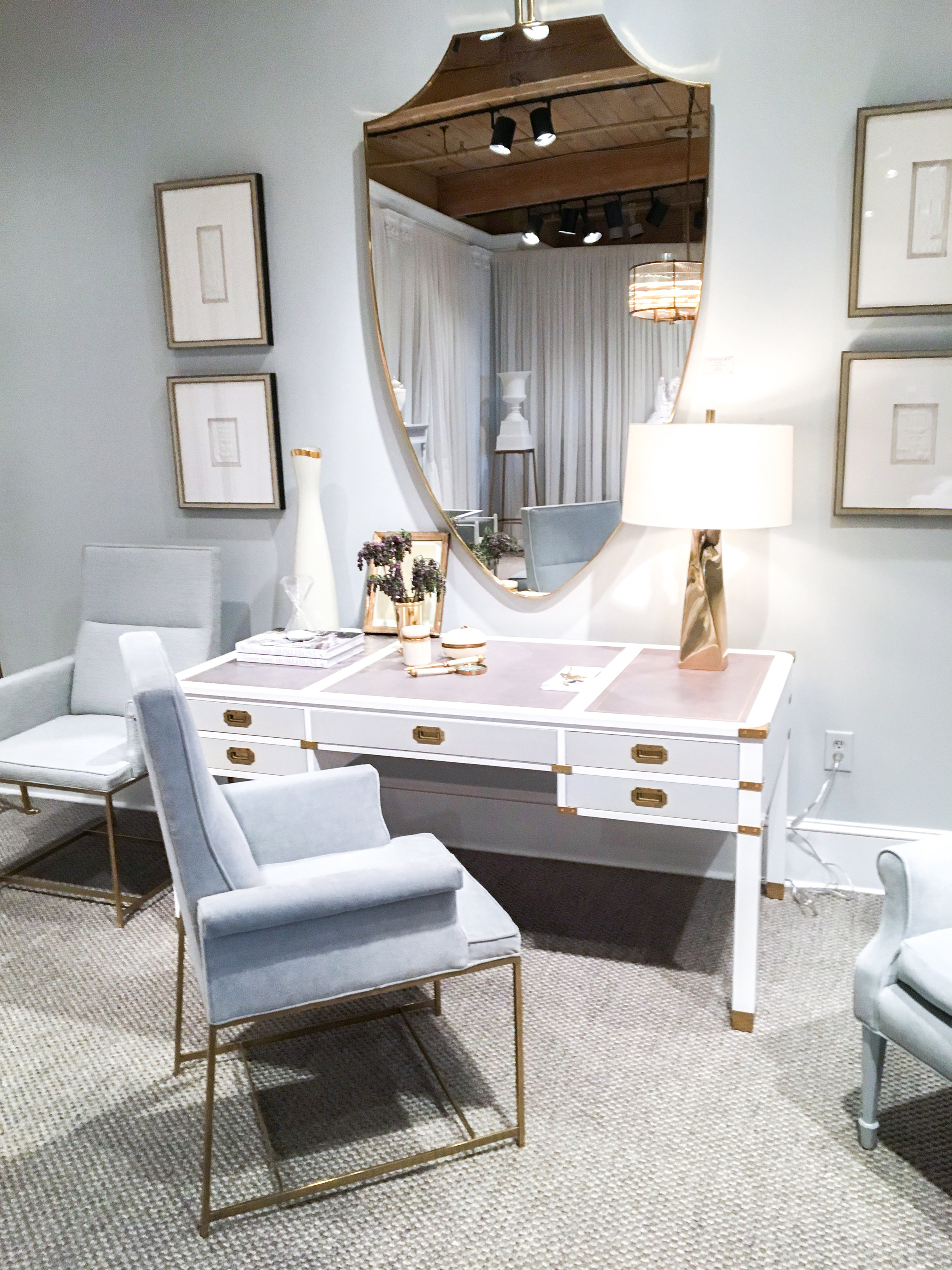 The new  Windsor Smith Collection for Century - Desk and mirror were so pretty!