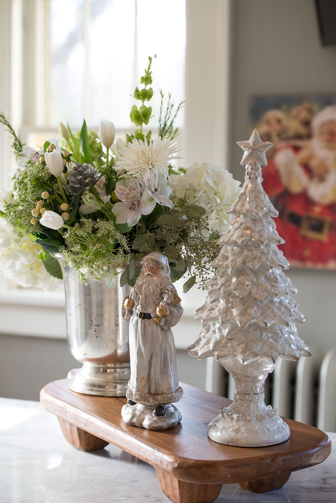 Winter whites are always a favorite way to decorate during the holidays.