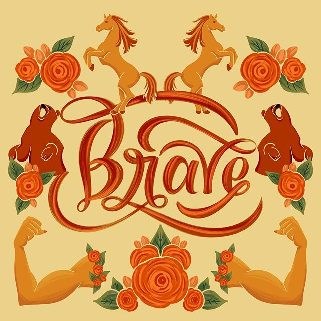 Brave 🐻🐴💪 Sometimes choosing the palette is the hardest part, so I like to throw a color filter over the whole thing to find unexpected colors and unify the palette. Swipe to the third pic for one of those bizarre filtering miracles 🔮. Color dodge sees what it wants to see, and I like it! . . . #happyletteringchallenge #monthlyartprompts #womenofillustration #typematters #designinspiration #thedesigntip #thedailytype #goodtype #strengthinletters #designsponge #womenwhodraw #typespire #showusyourtype #typeworship #ligaturecollective #procreate #ipadlettering #artoftype