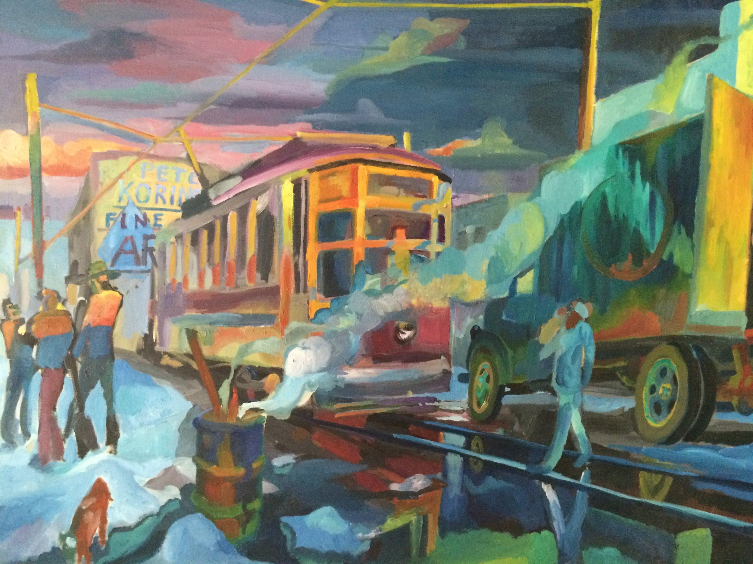 Street Car  30x40 oil on canvas