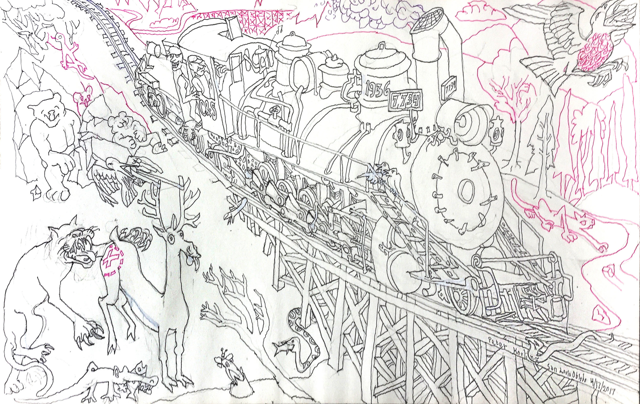 A Steam Engine Story Series - 2017  ballpoint on paper
