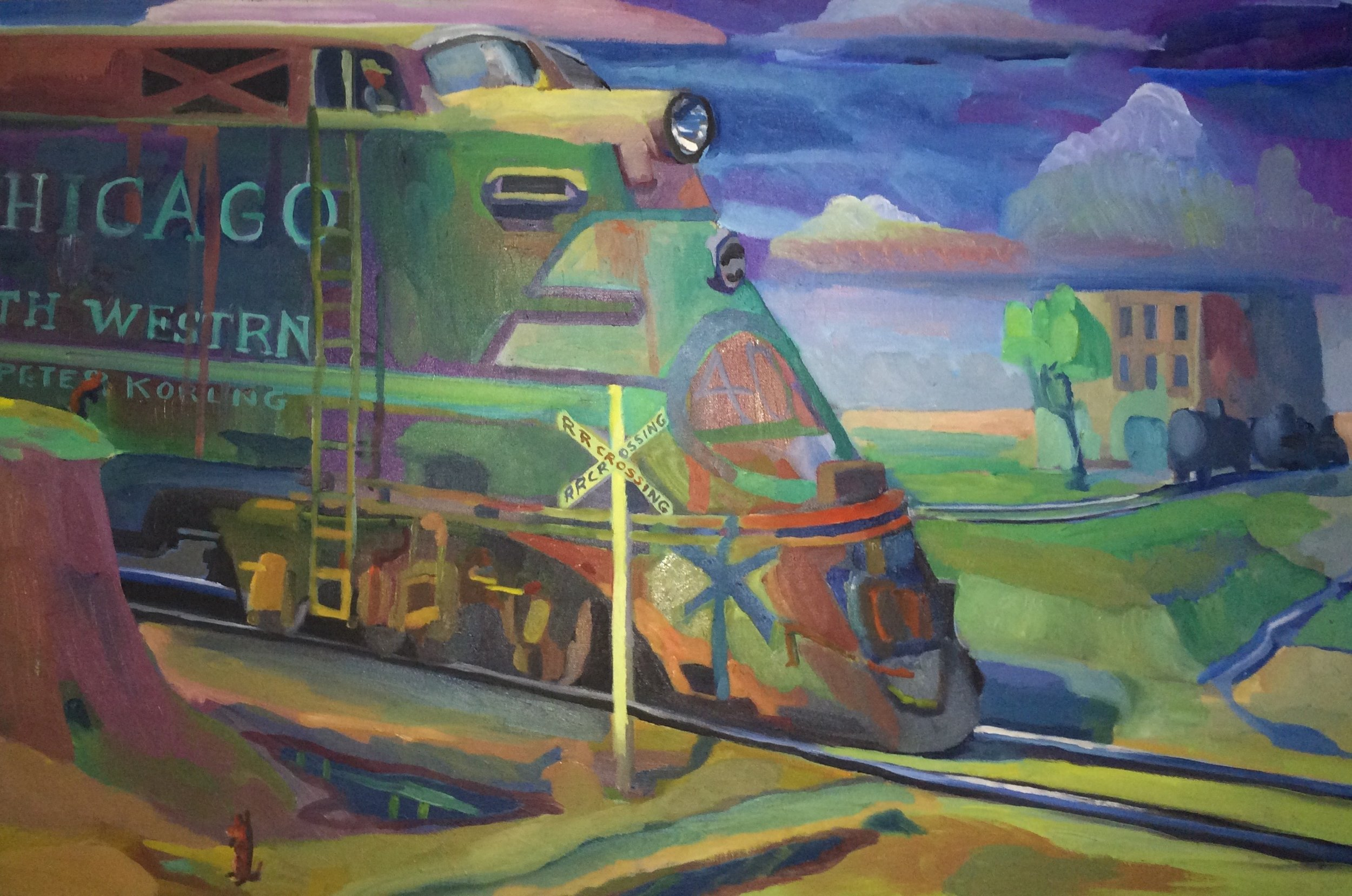 Chicago North Western Engine  24x36 oil on canvas  Sold