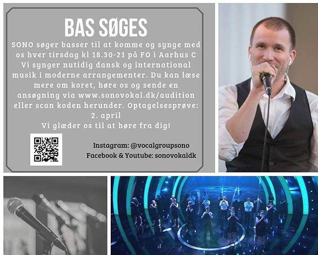 Synger du BAS og har lyst til at synge i et ambitiøst kor med et skønt fællesskab? Så skynd dig at søge ind i SONO - vi har optagelsesprøve d. 2. april, så du kan lige nå det!