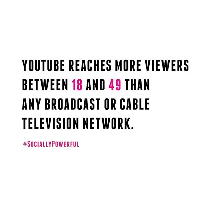 Counting on mobile only, YouTube is already surpassing cable network for the most amount of viewers! Do you use YouTube more than TV? • • • #Startup #SociallyPowerful #SocialMediaMarketing #CreativeAgency #InfluencerMarketing #Online #DigitalMarketing #Fact #Facebook #Marketing #Youtube