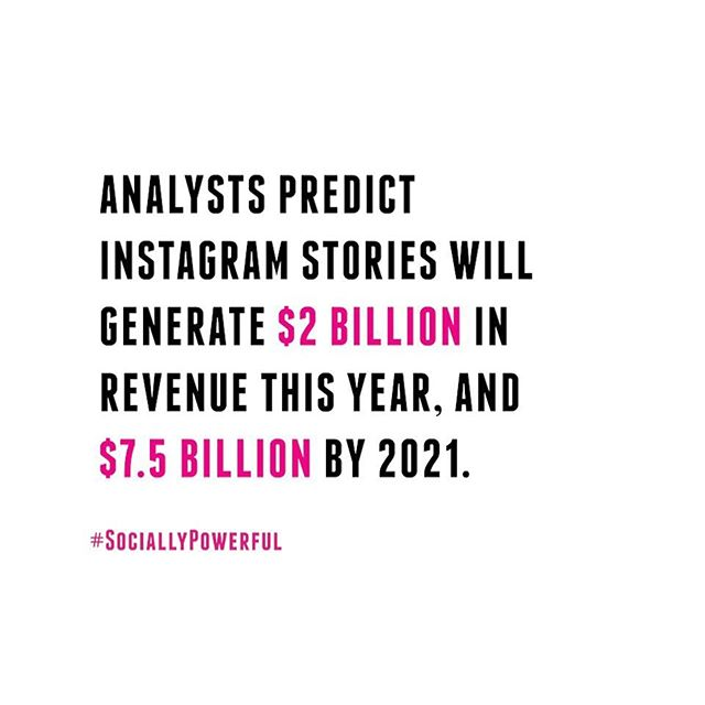 Are you using Instagram stories for your brand? If not, you should be! Stories are growing fast, and in 2 years time will nearly quadruple its revenue!! • • #Startup #SociallyPowerful #SocialMediaMarketing #CreativeAgency #InfluencerMarketing #Online #DigitalMarketing #Fact #Stories #Marketing #Instagram #Revenue