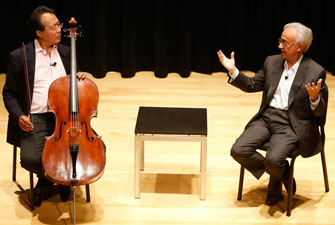 Yo-Yo Ma discusses the therapeutic role of music with Dr. Antonio Damasio