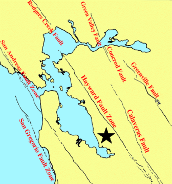 The image above is a depiction of the fault zones in the Bay Area, California. The black star indicates where I live in California. (Source: http://www.ebsinstitute.com/EBS.EQ2_RS_DA.html)