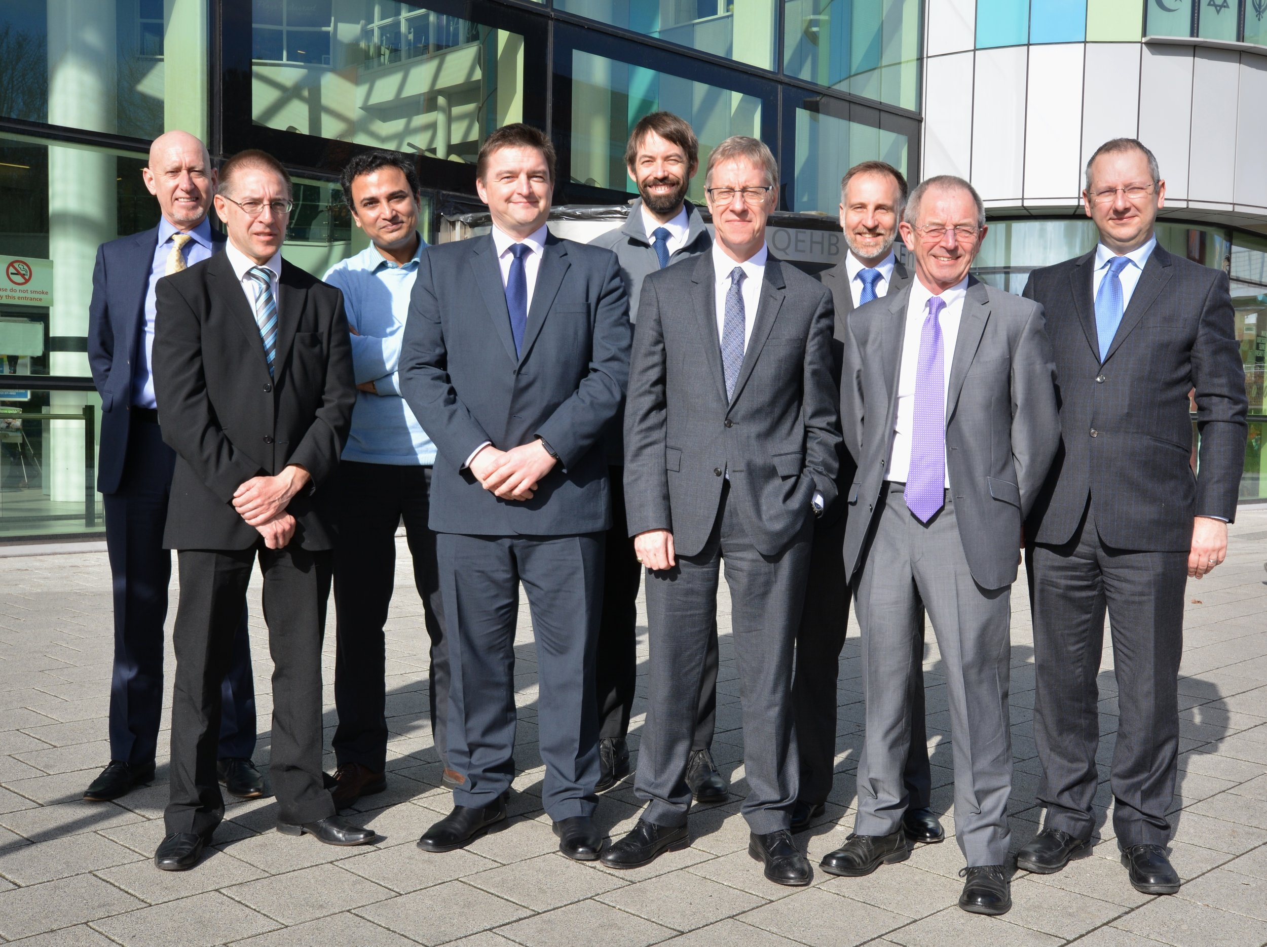 From Left to Right: Alan Lonie, Programme Manager, Insignia Medical Systems; Ian Wilson, PACS Manager UHB; Pankaj Das, UHB Project Manager; Richard Dormer, Managing Director, Insignia Medical Systems; Barnaby Waters, UHB Imaging Technical Lead; Paul Brettle, Deputy Director of Operations, Division A, UHB.; Erik Dege, Operations Manager, Insignia Medical Systems; Richard Tyler, Project Manager, Insignia Medical Systems; Jon Hall, Chief Technical Officer, Insignia Medical Systems