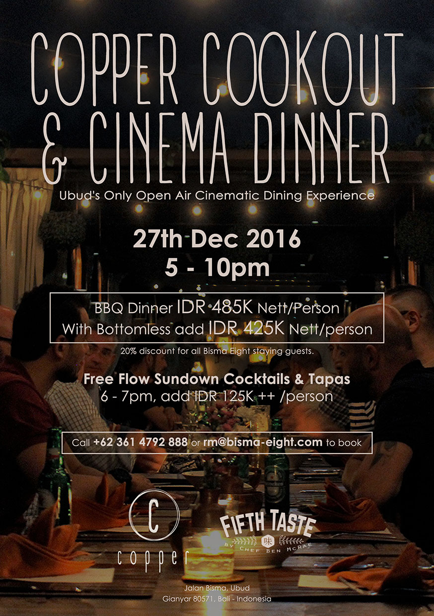 Copper Rooftop Cinema Dinner – December 27 2016 from 7 PM until finish