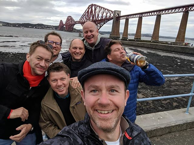 The lads from Cologne on tour drinking all my whisky! #greatguys #whisky #forthrailbridge #minimack