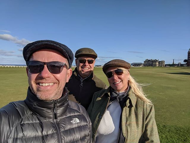 Hanging with the lovely Basolis's from New Jersey in St Andrews 👍😁. #newjersey #oldcourse #standrews @stacibasolis