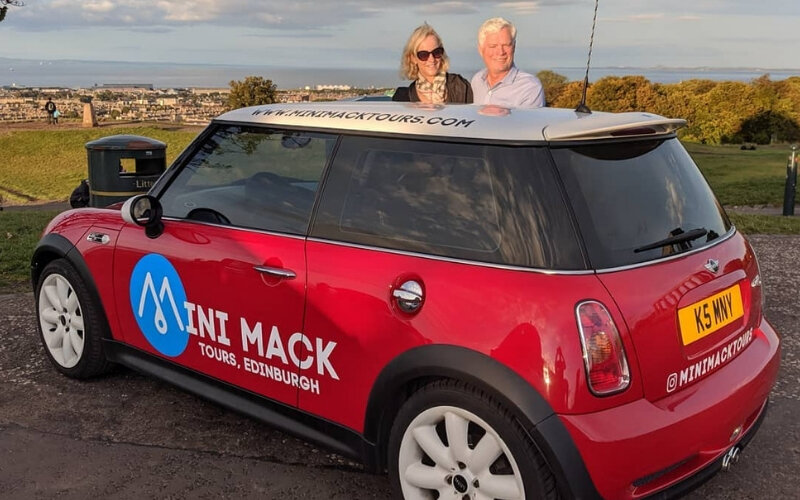 Two of our Mini Mack guests on top of Calton Hill (Instagram: @minimactours)
