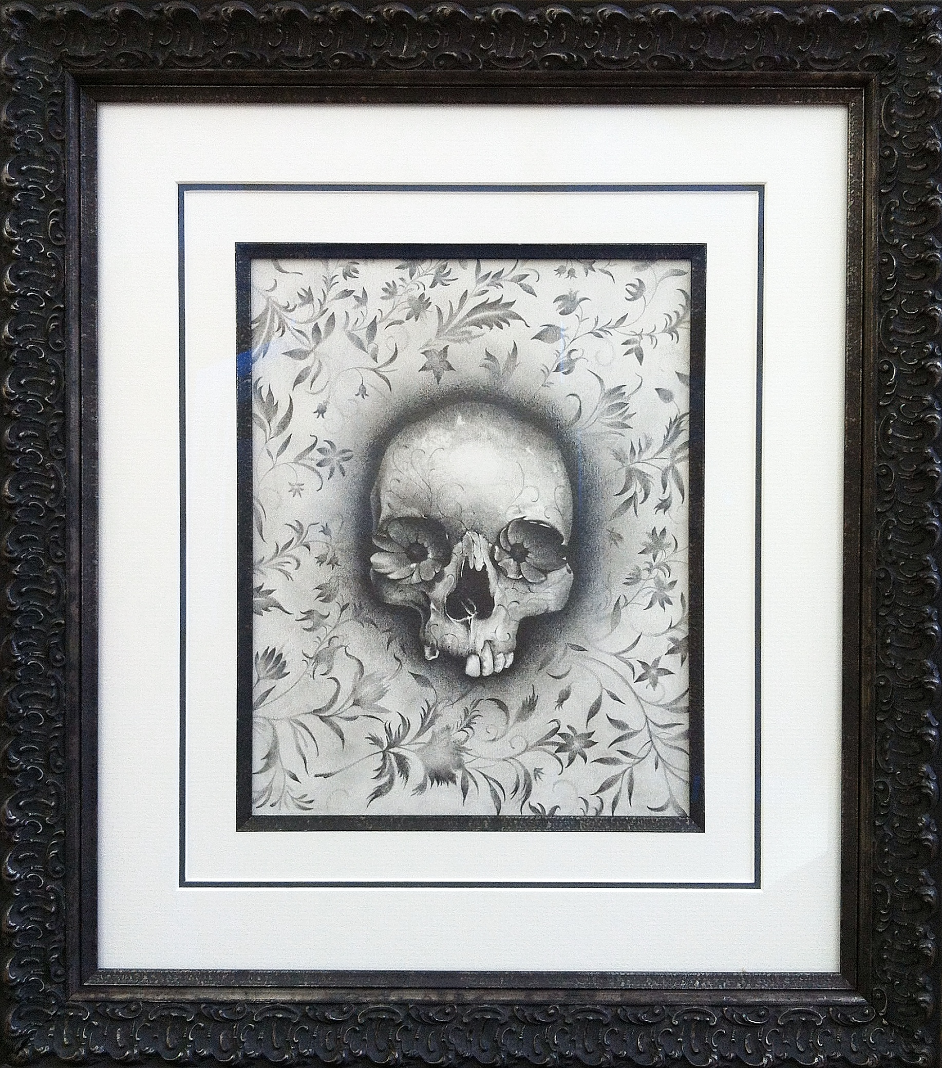 Floral Skull, pencil and paper