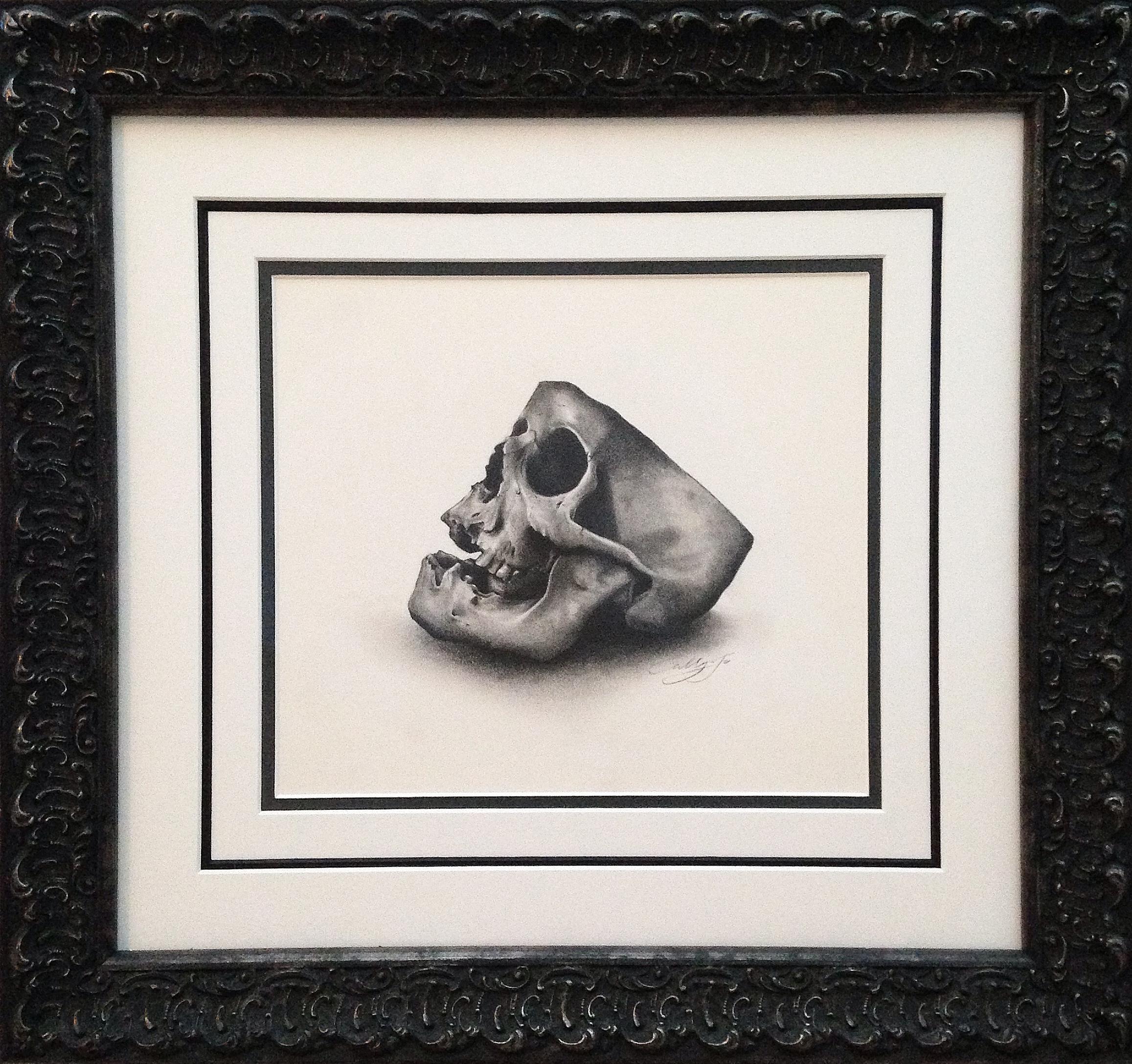 Half skull, pencil and paper