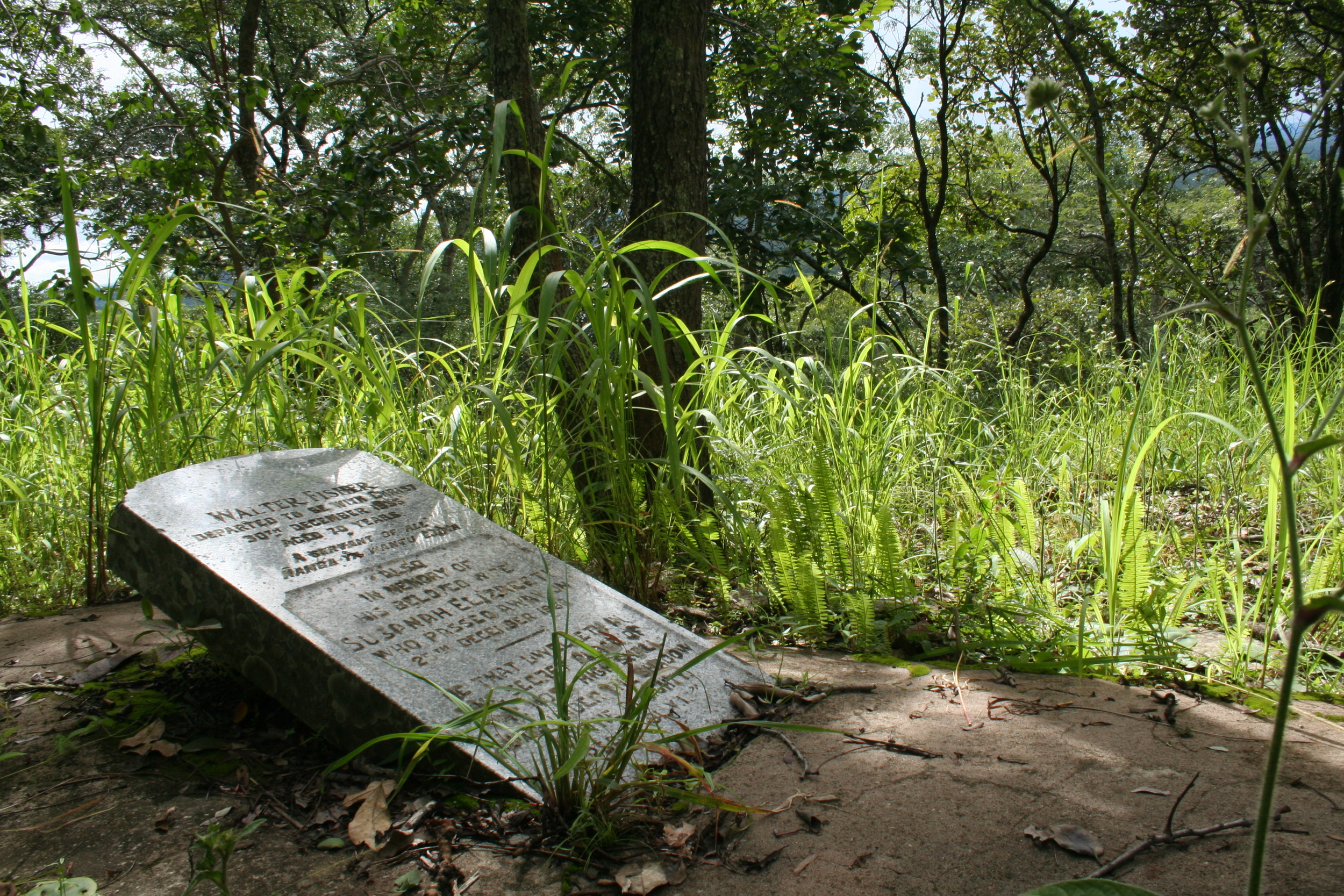 WHITE MAN'S GRAVE: The gravesite of Dr. Fisher, on Kalene Hill. The inscription reads: Walter Fisher – Departed to be with Christ – 30th December 1935 – A servant of all Wamba Ya Wantu Ejina.