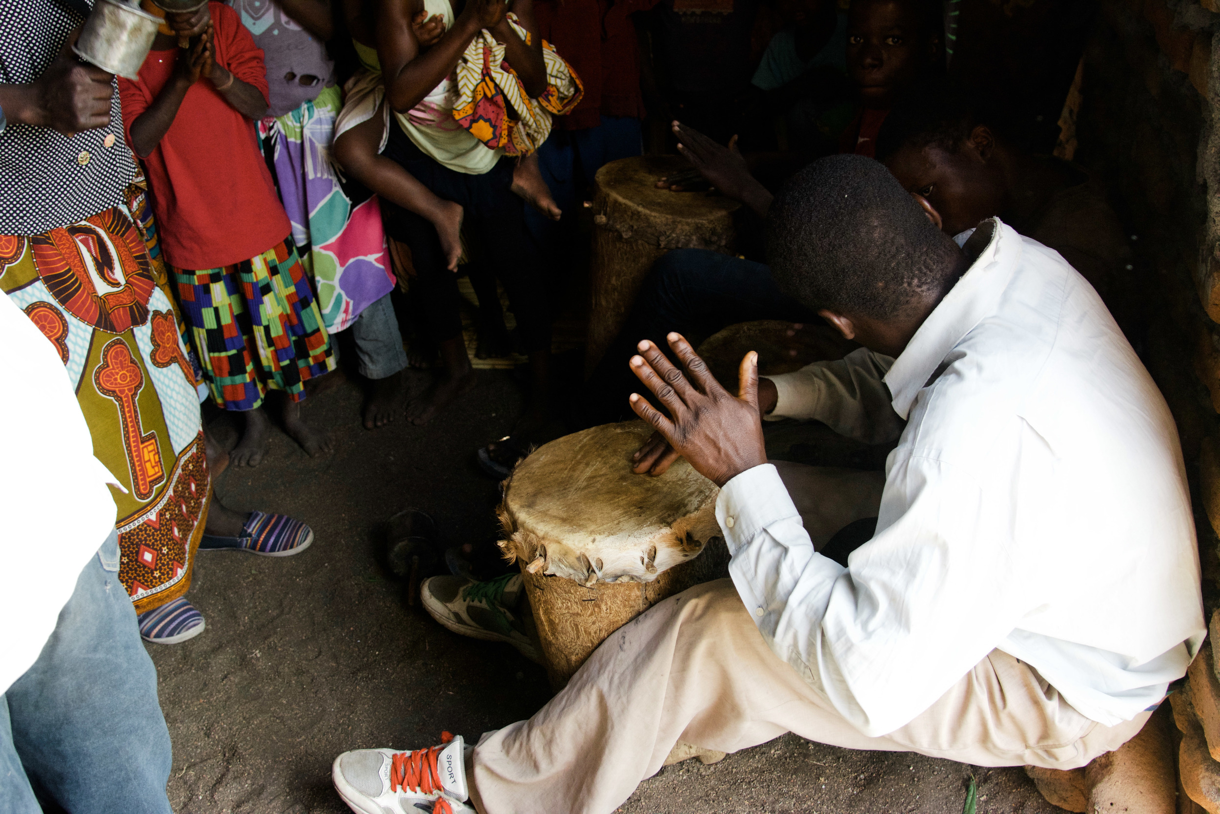 Music in central Mozambican churches consists simply of drums, shakers, and the human voice.