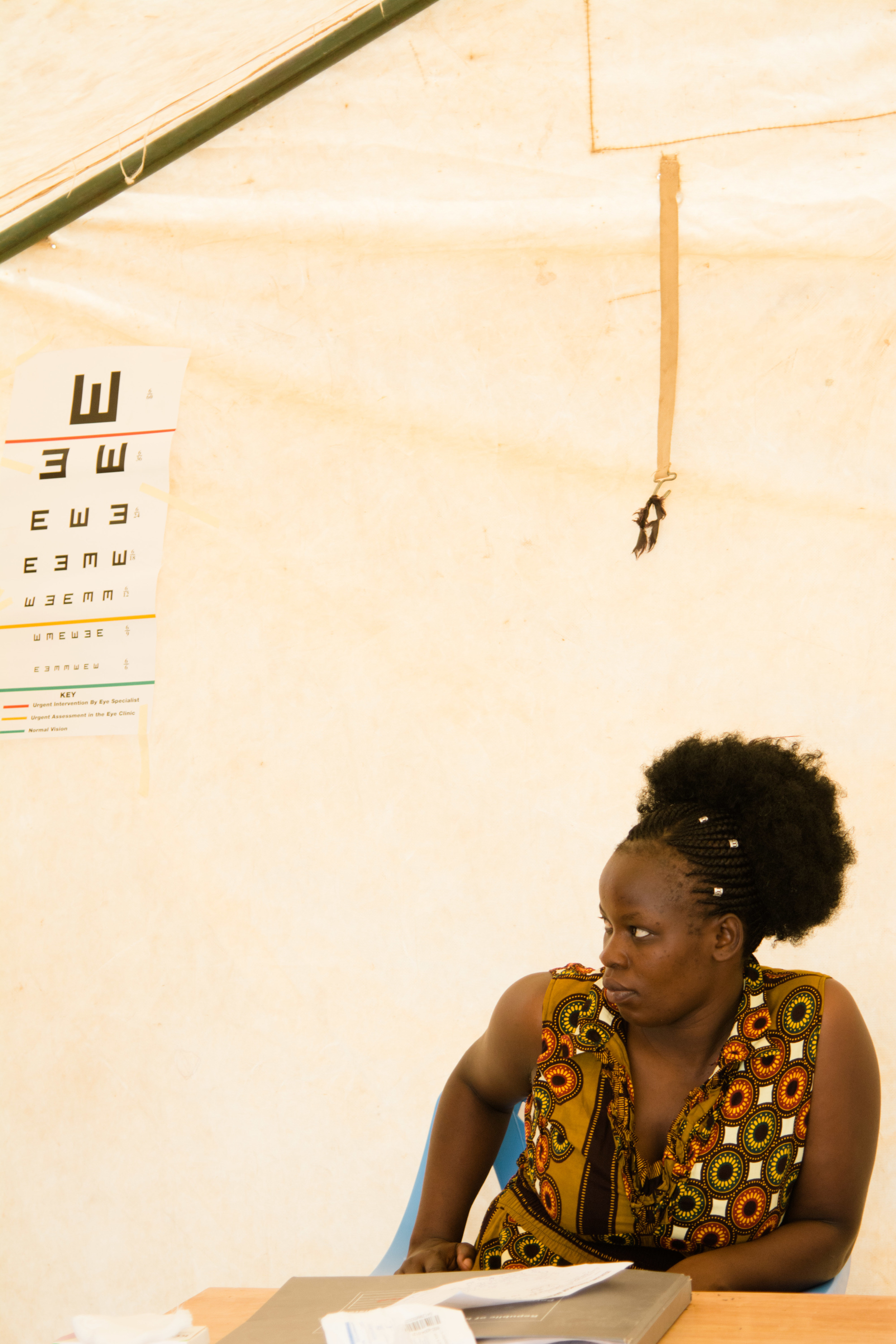 One of the Kenyan nurses in the eye clinic