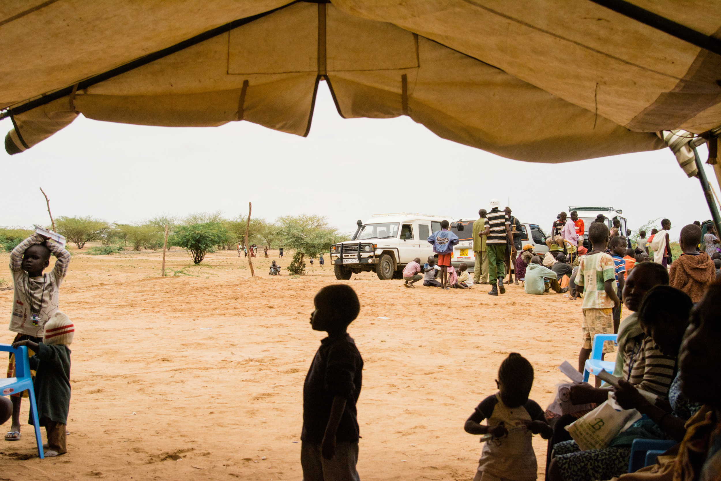 The view out of malaria testing tent