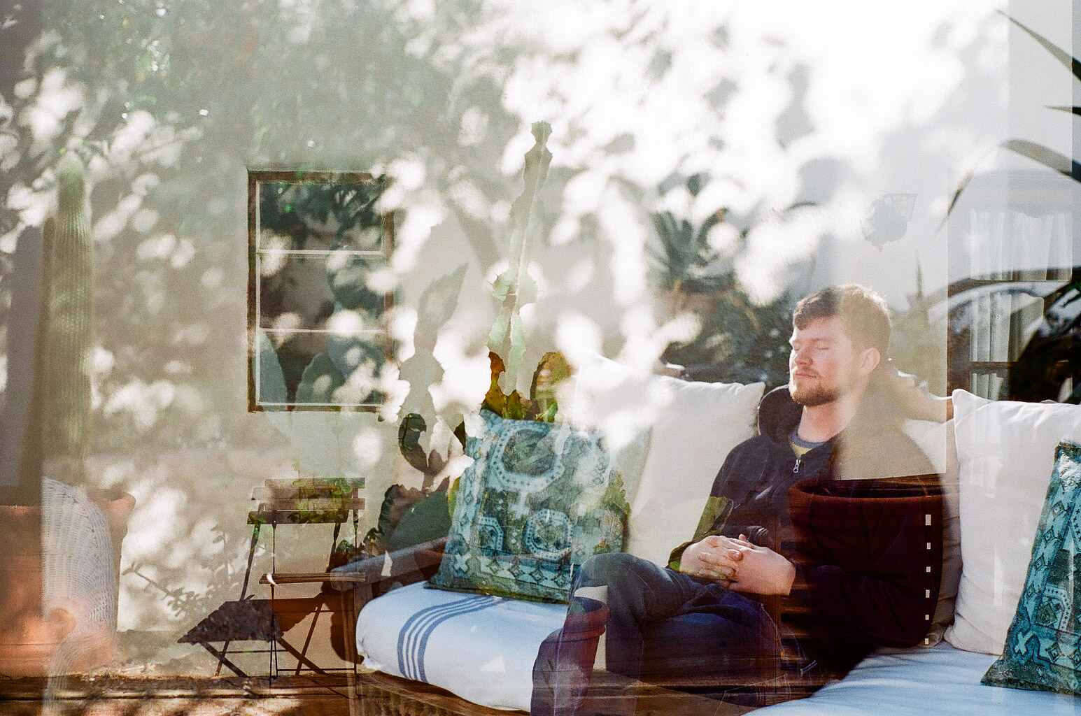 An accidental double-exposure perfectly depicts the dreamy, sun-drenched, luxurious mornings of Palm Springs.