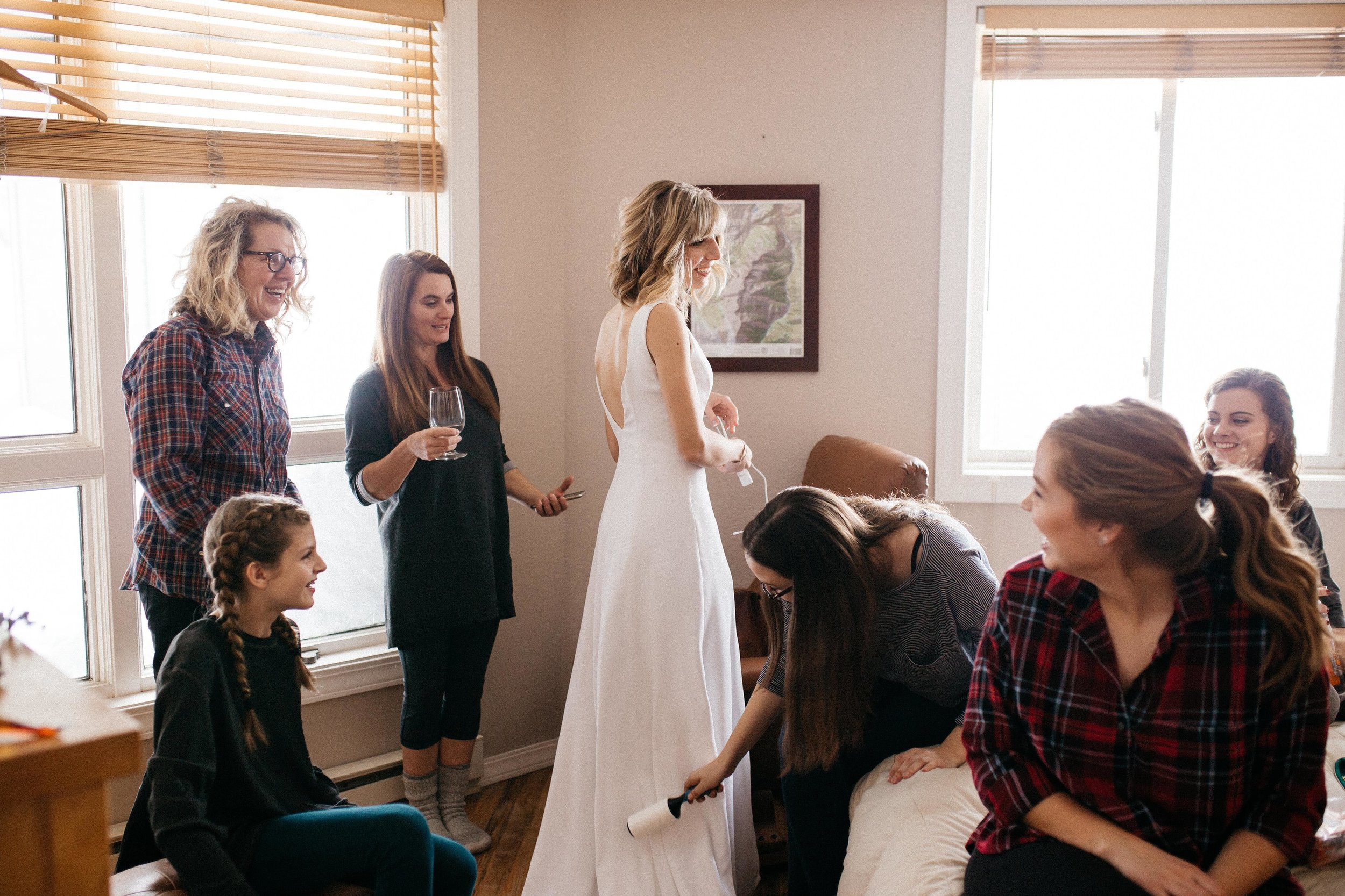 In the morning, so many of my gal pals crowded into my friend Ellie's room, where I got ready. These girls were my unofficial bridal party and it was the most special time to share with them. I especially appreciated my friend Rachel making sure we were lint-free the entire day (I highly recommend her services).