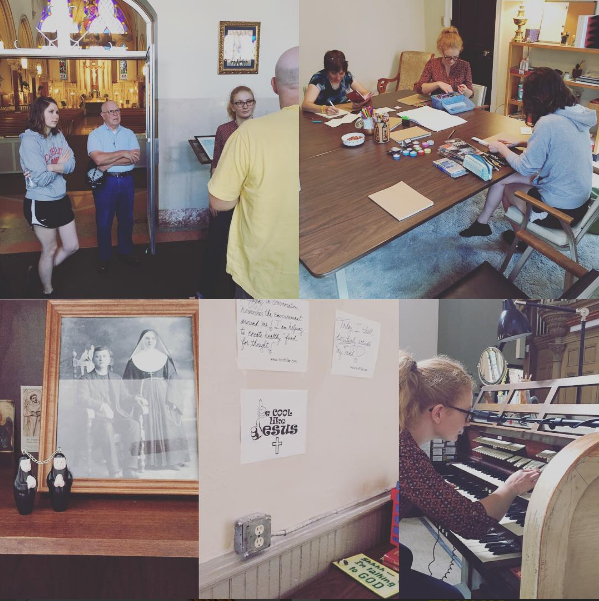 Michelle Schmid (bottom right) and fellow Service Corps Members explore their new home at St. John Kanty parish during orientaiton.