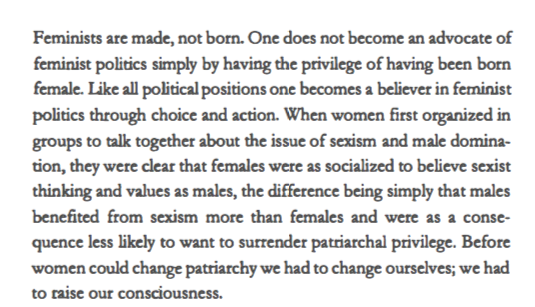 from bell hooks'  Feminism is for Everybody