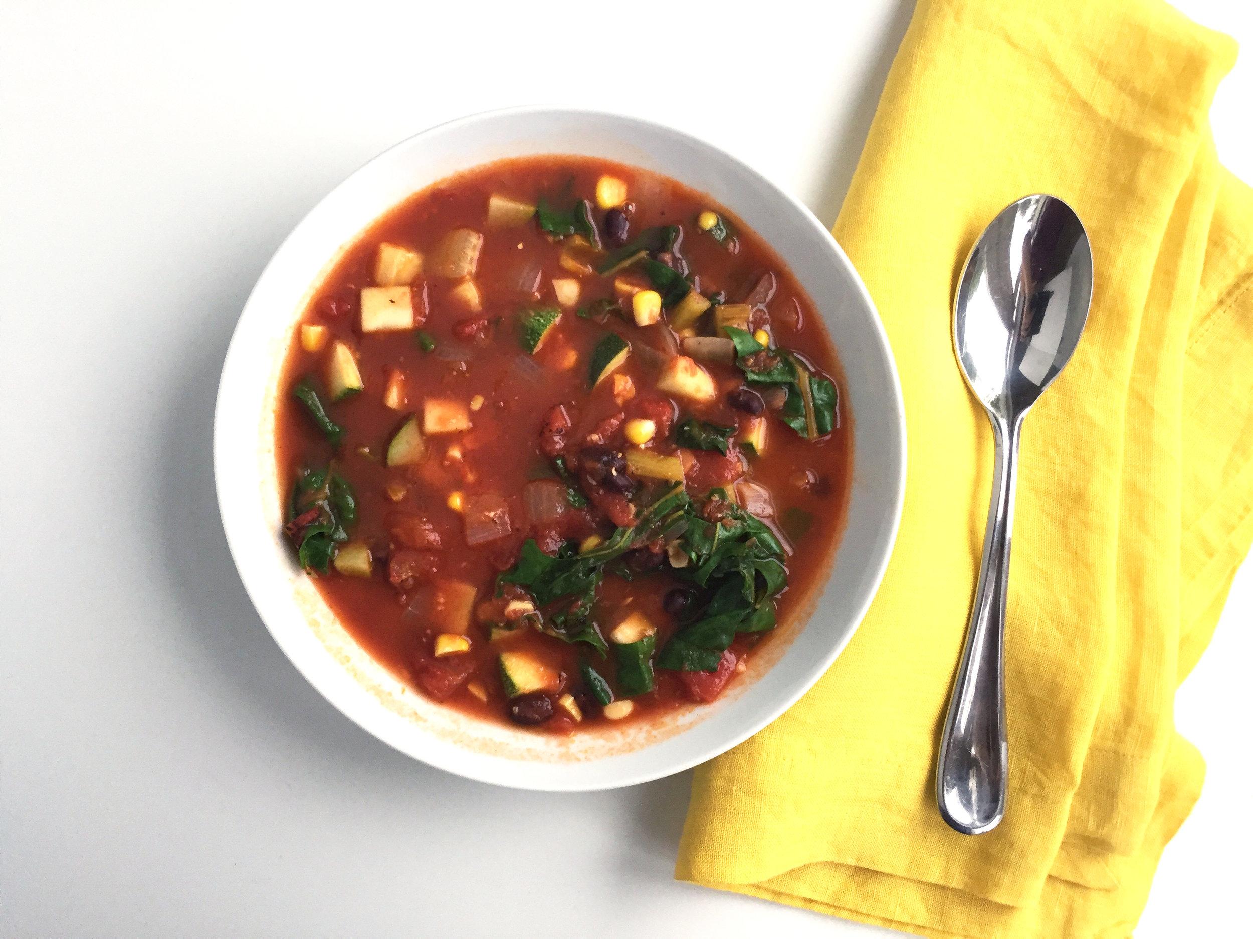 smoky corn tomato and chard soup