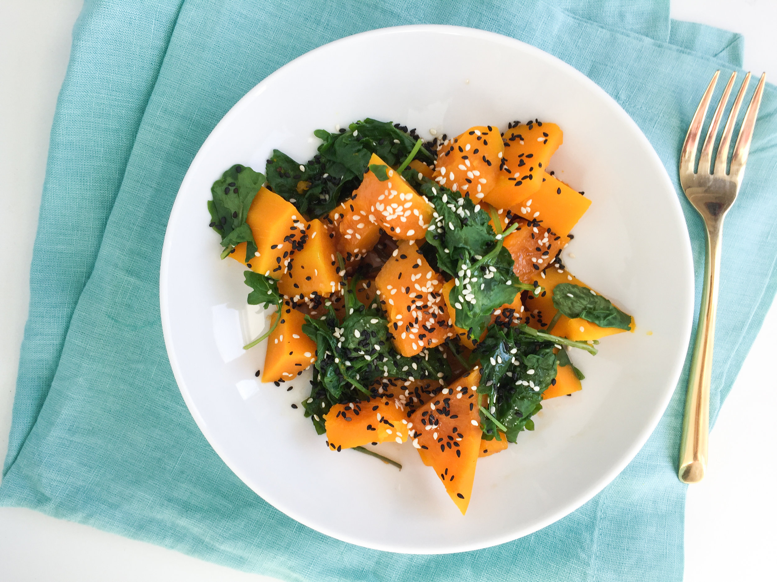 steamed kabocha squash and kale
