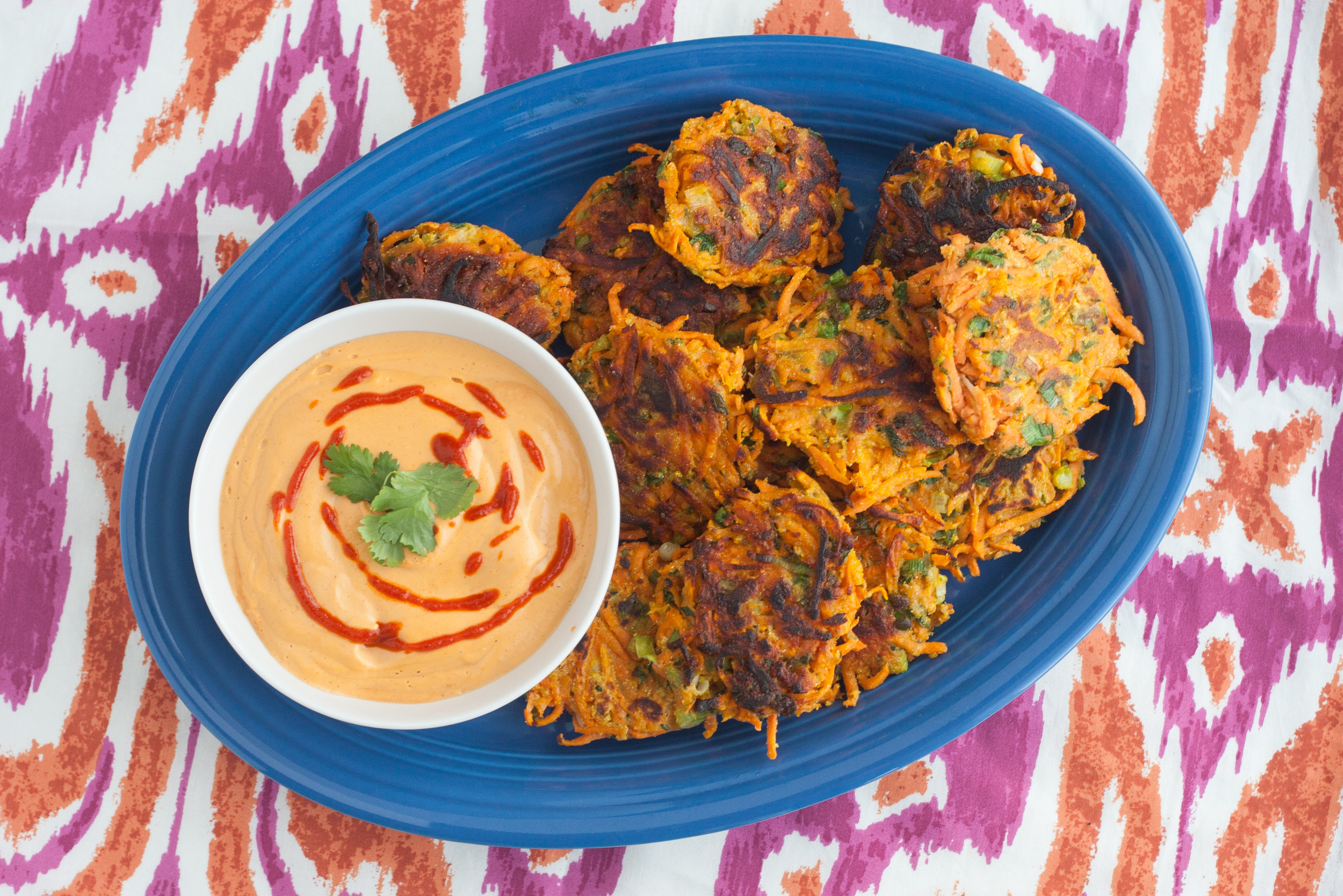 pan fried sweet potato cakes with sriracha cashew sauce recipe