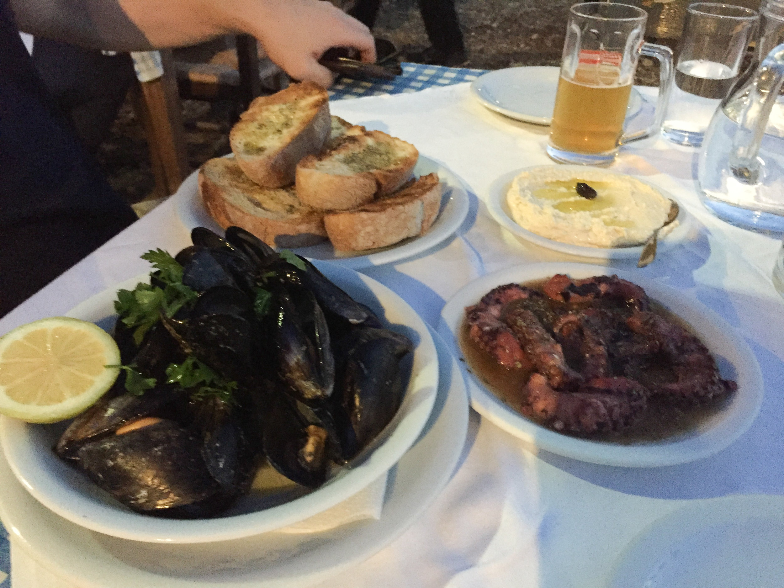 Our spread one night from our favorite seafood restaurant in Chania, Crete: Thalassino Ageri