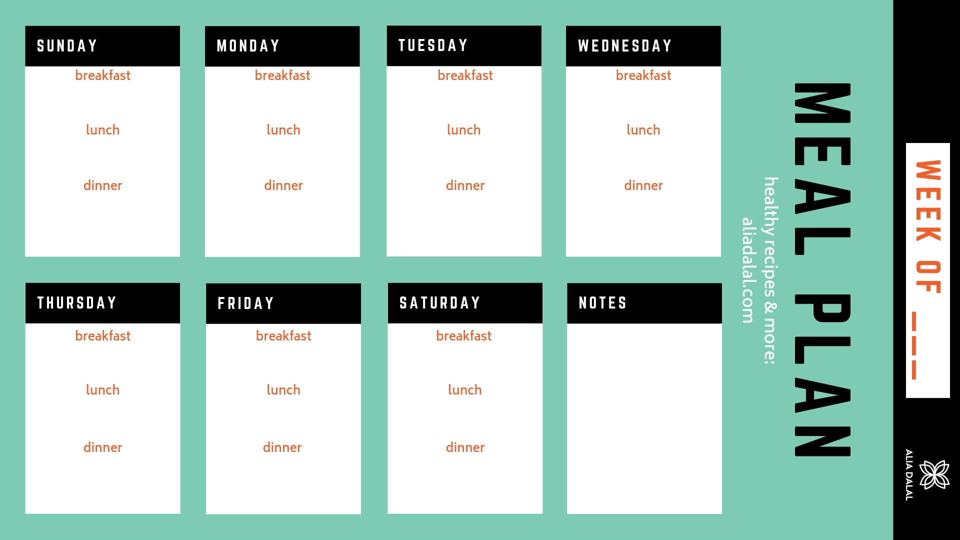 printable meal plan PDF