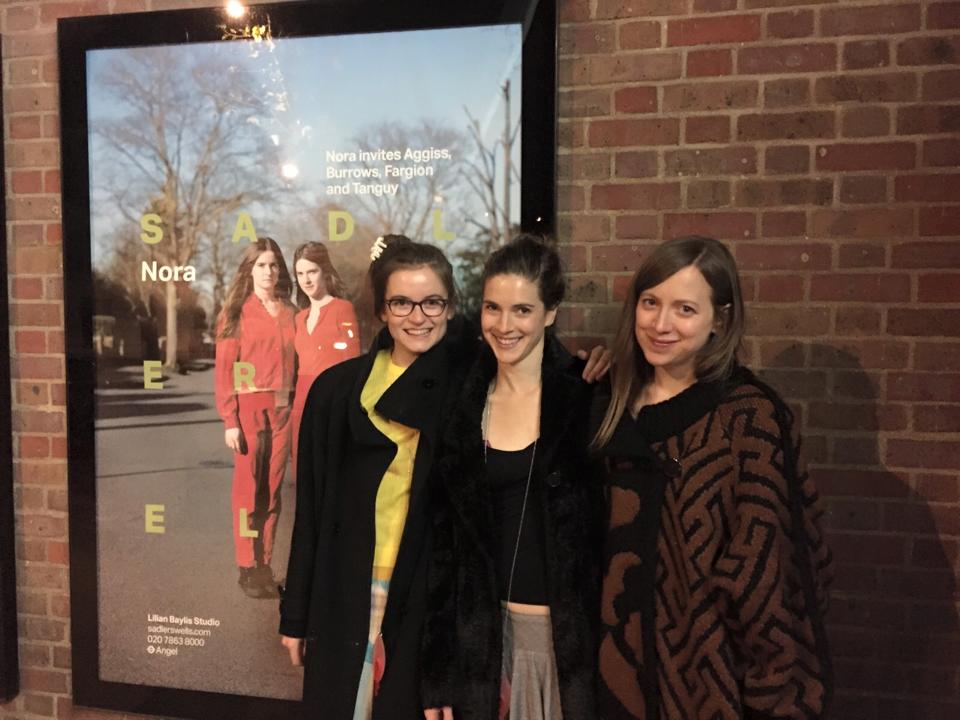 L-R: Eleanor Sikorski, Flora Wellesley Wesley and Stephanie McMann (Nora's rehearsal director) with Nora's poster outside Sadler's Wells after their premiere.