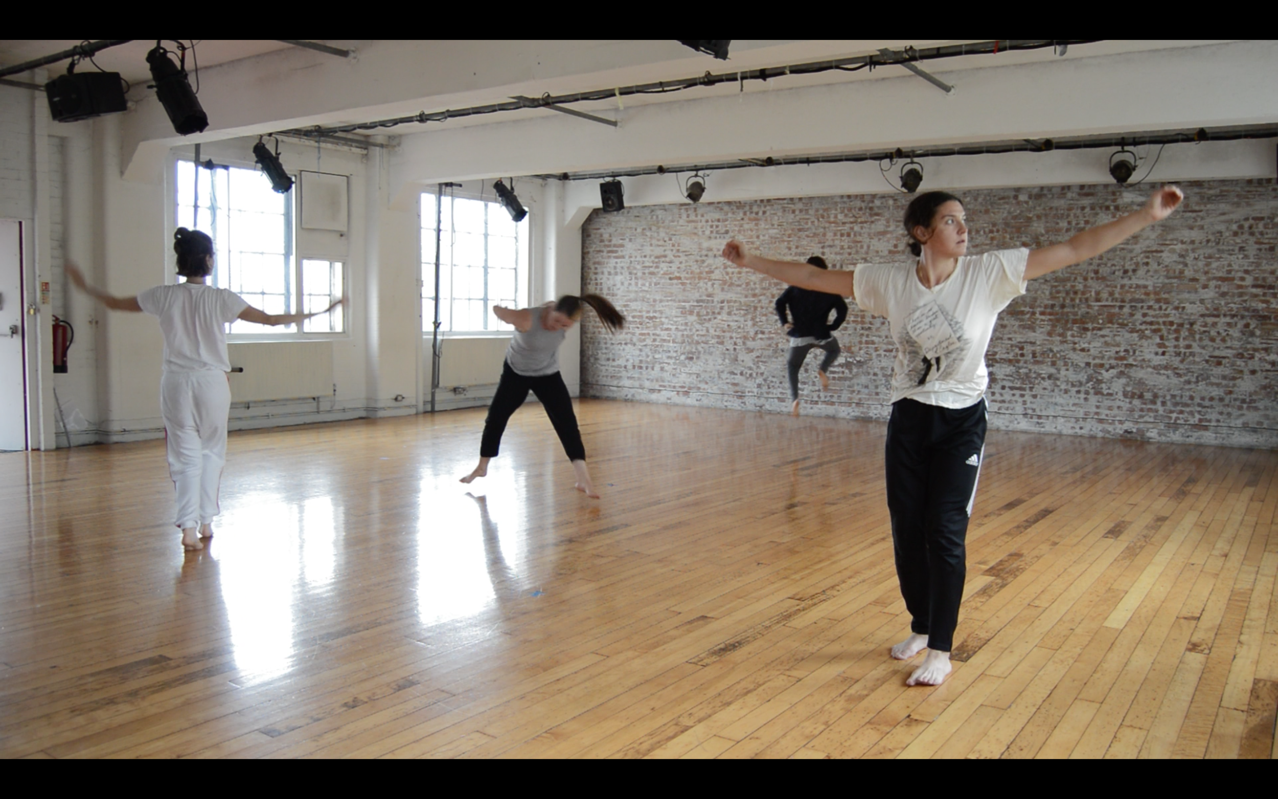 Eleanor and Nora working at Chisenhale Dance Space.