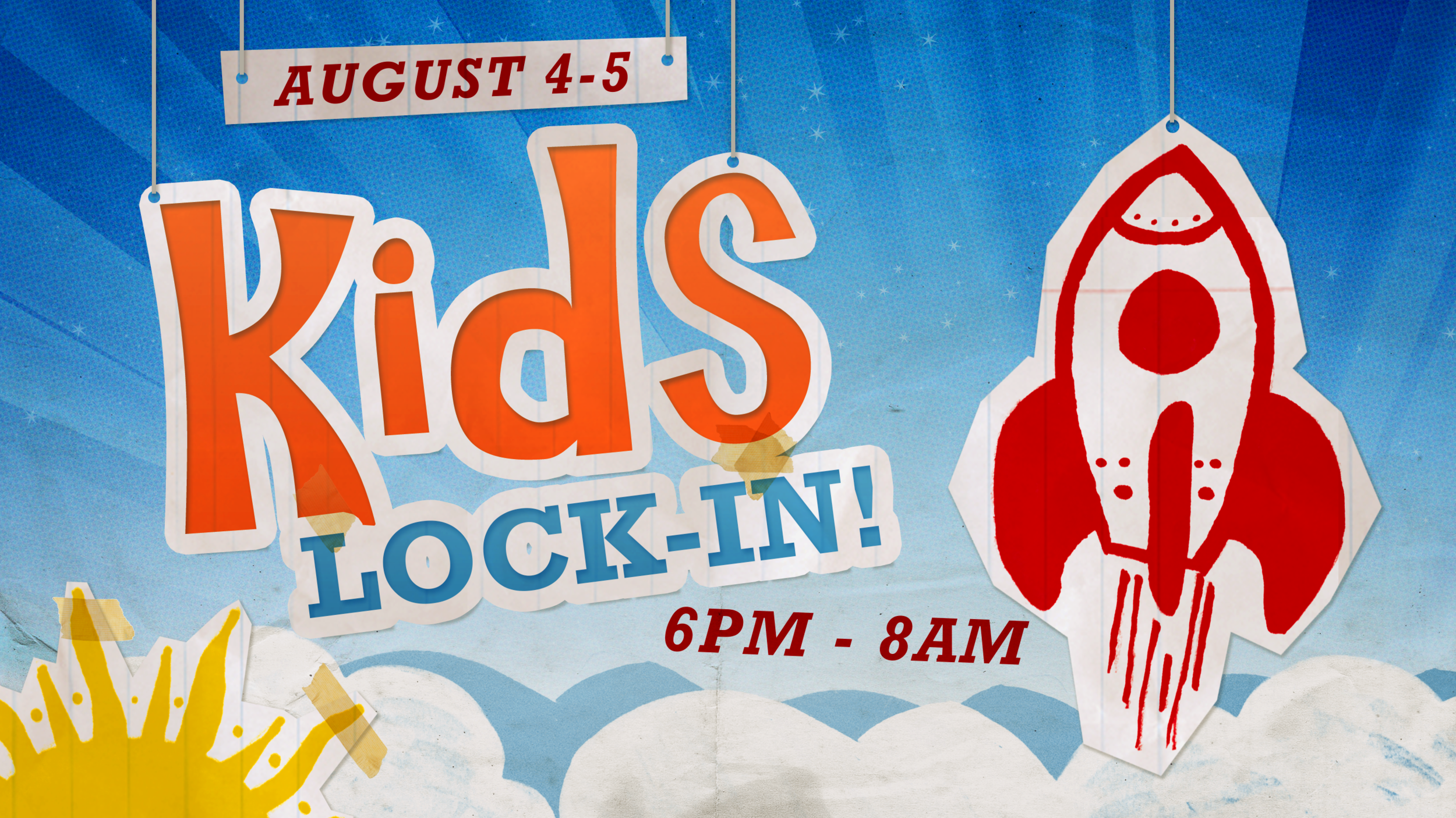 Freedom Kids Back To School Lock-In  The Freedom Kids Back To School Lock-In will be happening August 4-5! Starting at 6PM, we will have TONS of Food, games, inflatables, an off campus field trip to TBA,VBS music, and so much more!It's all happening at the Student Center. This event is designed for anyone going into K-6th Grade. The event will end promptly at 8AM on the morning of August 5th.  Kids should bring a sleeping bag and pillow in case they decide to sleep.  The cost is only $25!   REGISTER