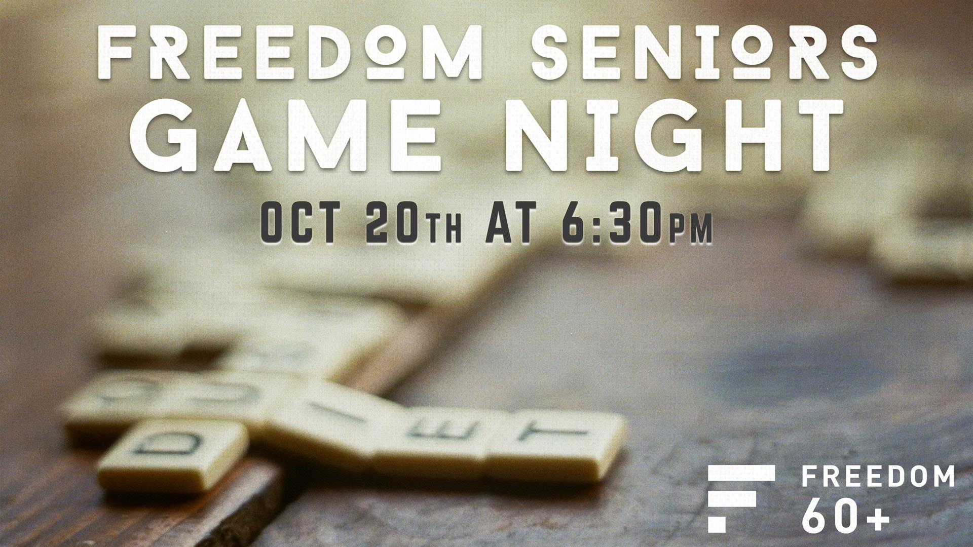 Come hang out with the Freedom Seniors, our 60+ ministry, for a great night of fun, food, fellowship and games. We are having a Fall theme for the night... Soups, Frito Chili Pies and Pumpkin stuff! We'll be meeting in the Student Center's Freedom Cafe from 6:30-9:30 p.m. See you there!